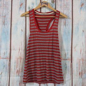 💎 Abbot Main Striped Tank Top Red & Grey Size M